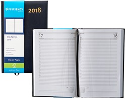Agenda 2018 Ryam Efficiency 1 dag per pagina 13,5x21cm omslag blauw wit papier.