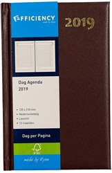 Agenda 2019 Ryam Efficiency 1 dag per pagina 13,5x21cm omslag bordeaux wit papier.