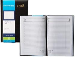 Agenda 2018 Ryam Efficiency 1 dag per pagina 13,5x21cm omslag zwart wit papier.