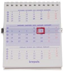Bureaukalender 2018 Brepols wireo-binding 10,5x13cm 4-talig met 3 maanden overzicht.