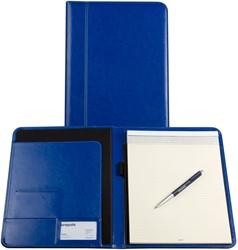 Schrijfmap Brepols Palermo A4 24,2x33cm inclusief schrijfblok - omslag lederlook koningsblauw.