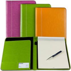 Schrijfmap Brepols Palermo Fashion A4 24,2x33cm inclusief schrijfblok - omslag lederlook limoengroen.