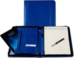 Schrijfmap Brepols Palermo A4 27x33cm met ritssluiting en schrijfblok - omslag lederlook koningsblauw.