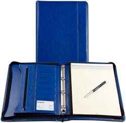 Schrijfmap Brepols Palermo A4 25,5x34,7cm met ritssluiting, schrijfblok en 4-rings 20mm mechaniek - omslag lederlook koningsblauw.