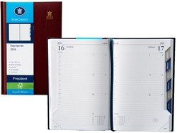 Agenda 2018 Ryam President 1 dag per pagina 13,6x20,7cm met maandtabs omslag bordeaux wit papier (900180).