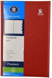 Agenda 2019 Ryam President 1 dag per pagina 13,6x20,7cm met maandtabs omslag rood wit papier.