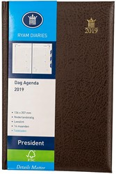 Agenda 2019 Ryam President 1 dag per pagina 13,6x20,7cm met maandtabs omslag bruin wit papier.