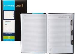 Agenda 2018 Ryam Efficiency 1 dag per pagina 13,5x21cm met maandtabs omslag zwart wit papier.