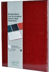 Receptieboek Brepols 'Belleganza' kunstleder 20x25,2cm 80 bladen in de kleur bordeaux.