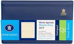 Zakagenda 2019 Ryam Compact 7 dagen per 2 pagina's 9x15,1cm liggend model met spiraal omslag blauw creme papier (900192).
