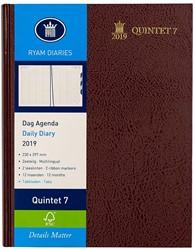 Agenda 2019 Ryam Quintet-7 1 dag per 2 pagina's 23x29,7cm 7 kolommen omslag bordeaux wit papier (900182).