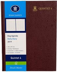 Agenda 2019 Ryam Quintet-4 1 dag per pagina 23x29,7cm 4 kolommen omslag bordeaux wit papier (900187).