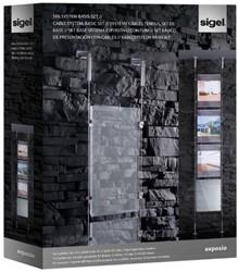 Presentatiesysteem Sigel 'Exposio' SE100 2 draadkabels, 4 scharnierschroeven, 4 acryl A4, 16 bevestigingsclips.