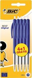 Balpen BIC M10 blauw blister 4+1.