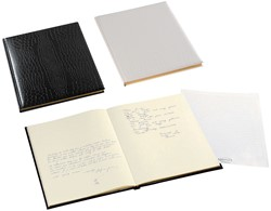 Gastenboek Brepols Belleganza 23,5 x 29,7cm kunstleder omslag met croco nerf in de kleur bruin.