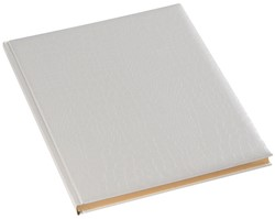 Gastenboek Brepols Belleganza 23,5 x 29,7cm kunstleder omslag met croco nerf in de kleur wit.