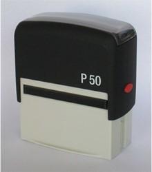 Tekststempel Posta P50 zelfinktend 7 regels maximaal afdrukformaat 67x29mm.
