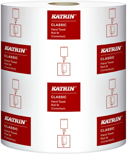 Handdoekrol Katrin Classic System M2 centerfeed wit 20.5cm x 152 meter 2-laags 6 rollen (481911).