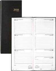 Agenda 2018 Brepols Saturnus lang 7 dagen per 2 pagina 12,8x33cm omslag zwart wit papier (0.131.1255.01.6.0).
