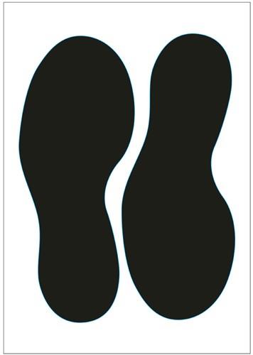 Vloersticker voetstappen zwart 250mm gelamineerd anti-slip.