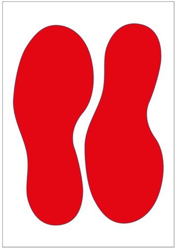 Vloersticker voetstappen rood 250mm gelamineerd anti-slip.