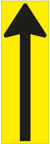Vloersticker pijl zwart/geel 300x100mm gelamineerd.