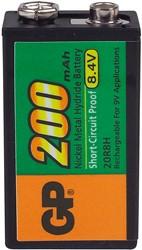 Oplaadbare batterij GP 20R8HC 9  volt 200 mAh per stuk.