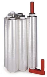 Kunststof handafroller in de kleur rood t.b.v. 50cm palletwikkelfolie.