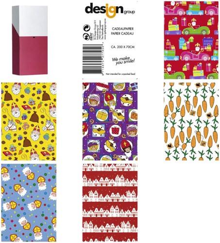 Sinterklaaspapier 200x70cm assorti kleuren.