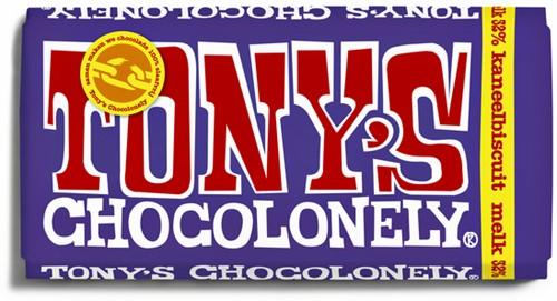 Chocolade Tony's Chocolonely melk kaneelbiscuit 180 gram.