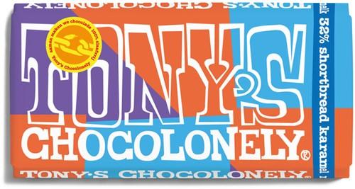 Chocolade Tony's Chocolonely melk 32% shortbread 180 gram.