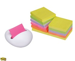 Memoblokdispenser 3M design dispenser wit incl. 12 blokken z-notes 76x76 mm neon regenboog. OP=OP!