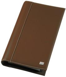 """Visitekaartmap Sigel VZ-234 """"Siena' nappaleder bruin met witte stikranden capaciteit 160 kaarten 90x58mmOP=OP!."""