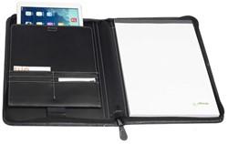 Schrijfmap / iPadmap Rillstab Geneve A4 25x34cm met ritssluiting en schrijfblok - omslag lederlook zwart.