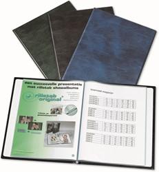 Showalbum Rillstab A4 20-tassen blauw met transparante insteek voorzijde.