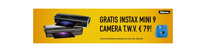 Gratis Fuji Instax camera bij een Fellowes lamineermachine