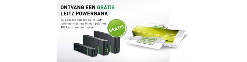 Gratis powerbank bij Leitz lamineermachines