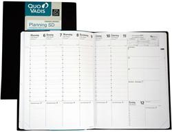 Agenda 2018/2019 Quo Vadis Planning SD 7 dagen per 2 pagina's 18x24cm vanaf 14 augustus 2018 t/m 31 december 2019 omslag zwart wit papier.