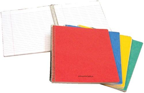 Schrift Aurora A5 spiraalgebonden soepele kartonnen kaft in assorti kleuren - 60 vel gelijnd papier.