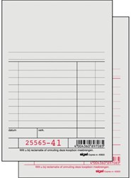 Kassablok Sigel Express met carbon 150x110mm 2x50 blad genummerd wit. Afname per 10 stuks.