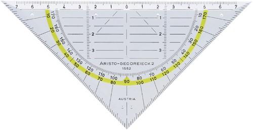 Geodriehoek Aristo 1552 160mm transparant met gele rand.