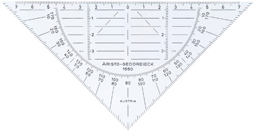 Geodriehoek Aristo 1550 160mm transparant flexibel.