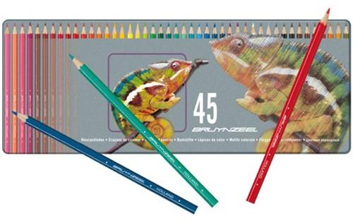 Kleurpotloden Bruynzeel MXZ 5010 metalen blik 45 stuks assorti kleuren.