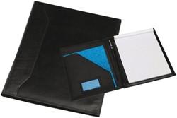 Schrijfmap Rillstab Verona A4 26x33cm inclusief schrijfblok - omslag volnerf rundleder zwart.