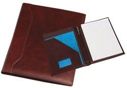 Schrijfmap Rillstab Verona A4 26x33cm inclusief schrijfblok - omslag volnerf rundleder bruin.