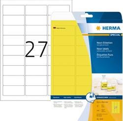 Etiket Herma 5140 63.5 x 29.6mm neongeel 20 vel 540 stuks.