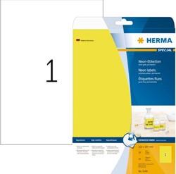 Etiket Herma 5148 A4 210x297mm fluorgeel 20 vel 20 stuks.
