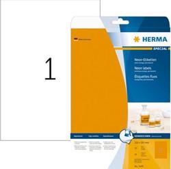 Etiket Herma 5149 A4 210x297mm fluor oranje 20 vel 20 stuks.
