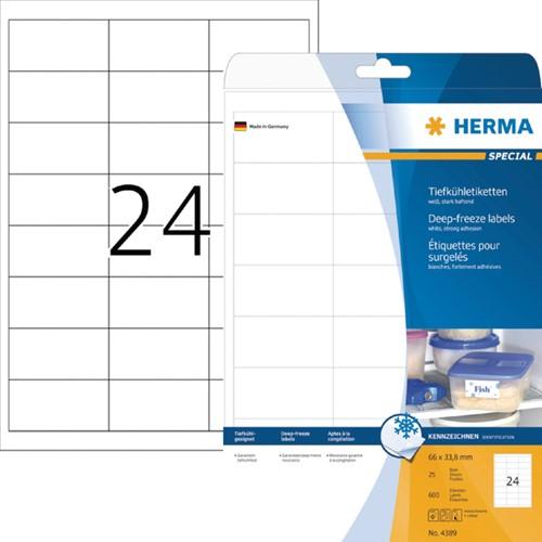 Etiket Herma 4389 A4 66x33.8mm wit diepvries 600 stuks.