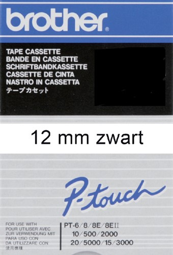 Labeltape Brother P-touch TC201 12mm zwart op wit.